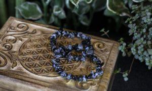 Splitarmband sneeuwvlok obsidiaan