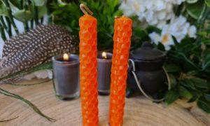 bijenwas spellcandle oranje