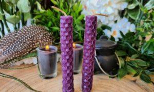 bijenwas spellcandle paars